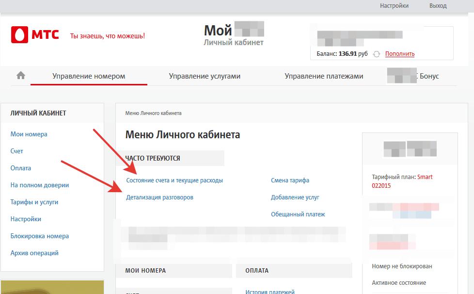 Детализация счета в интернет помощнике МТС