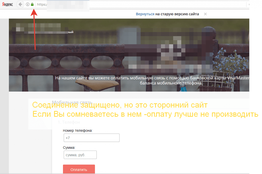 Подозрительный сайт оплаты МТС счета