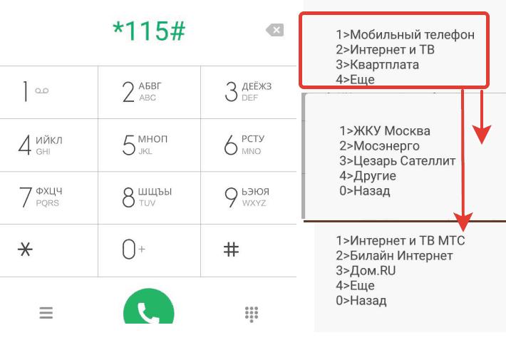 Оплата услуг ЖКХ, интернет, мобильной связи, используя Ussd 115